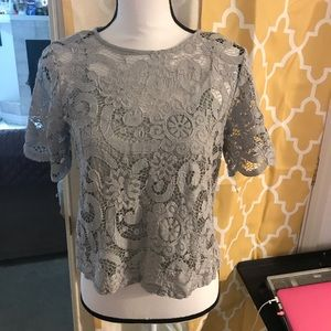 Nanette Lepore Tops - Nanette Leopold silver gray lace top lined